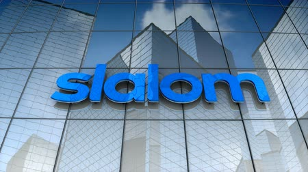 slalom : October 2017, Editorial use only, 3D animation, Slalom logo on glass building.