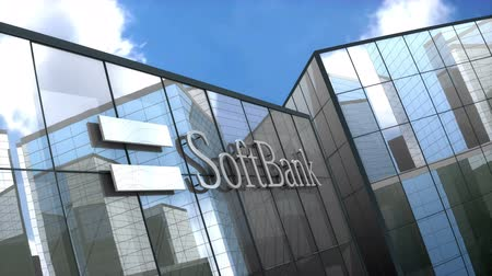 rögzített : June 2018, Editorial use only, Softbank logo on glass building. Stock mozgókép