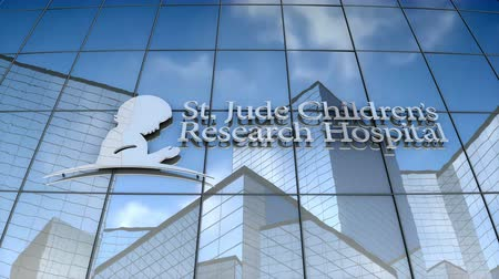 только : September 2017, Editorial use only, 3D animation, St. Jude Childrens Research Hospital logo on glass building.