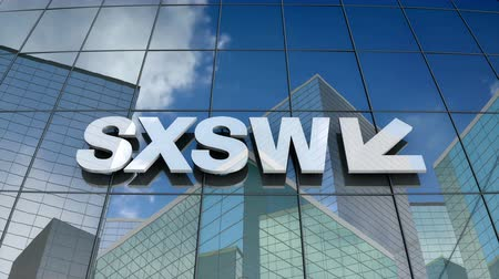 sudoeste : March 2018, Editorial use only, 3D animation, South by Southwest SXSW LLC logo on glass building.