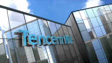 telegrafo : June 2018, Editorial use only, 3D animation, Tencent logo on glass building.