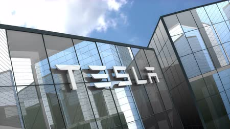 tesla car : October 2018, Editorial use only, 3D animation, Tesla logo on glass building.