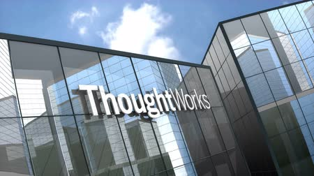 только : October 2018, Editorial use only, 3D animation, ThoughtWorks logo on glass building.