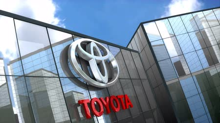 car logo : June 2018, Editorial use only, 3D animation, Toyota logo on glass building. Stock Footage