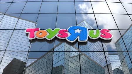 March 2018, Editorial use only, 3D animation, Toys R Us logo on glass building. Vídeos