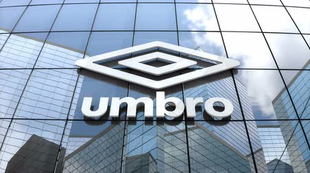 March 2018, Editorial use only, 3D animation, Umbro logo on glass building.