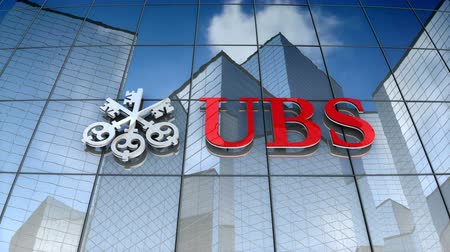 December 2017, Editorial use only, 3D animation, UBS AG logo on glass building. Vídeos