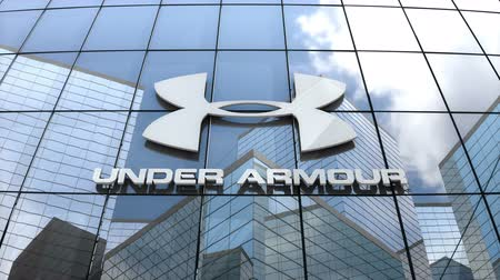 March 2018, Editorial use only, 3D animation, Under Armour, Inc. logo on glass building. Vídeos