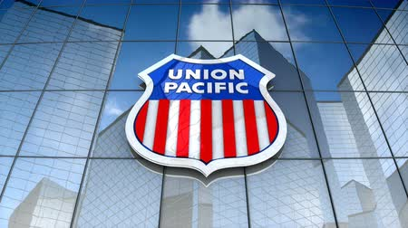 December 2017, Editorial use only, 3D animation, Union Pacific Railroad logo on glass building. Vídeos
