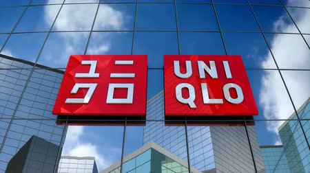 January 2018, Editorial use only, 3D animation, Uniqlo Co., Ltd. logo on glass building.