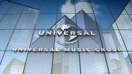 evrensel : December 2017, Editorial use only, 3D animation, Universal Music Group logo on glass building.