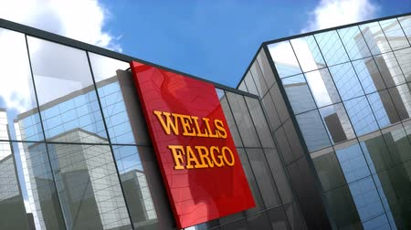 June 2018, Editorial use only, 3D animation, Wells Fargo logo on glass building.