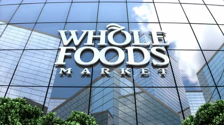 May 2018, Editorial use only, 3D animation, Whole Foods Market Inc. logo on glass building.