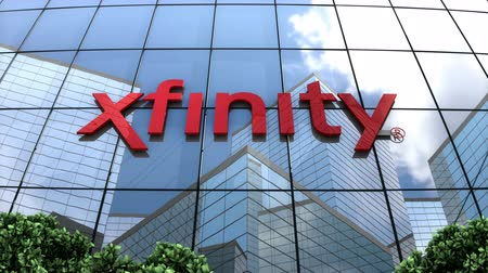 June 2018, Editorial use only, 3D animation, Xfinity, Comcast Cable Communications llc logo on glass building. Vídeos