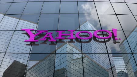 March 2018, Editorial use only, 3D animation, Yahoo! logo on glass building.