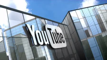 abbonamento : June 2018, Editorial use only, 3D animation, Youtube logo on glass building.