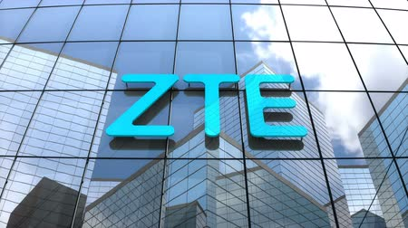 componentes : March 2018, Editorial use only, 3D animation, ZTE Corporation logo on glass building.