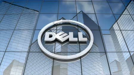 델 : September 2017, Editorial use only, 3D animation, Dell logo on glass building.