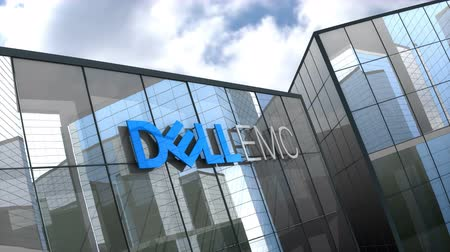 델 : October 2018, Editorial use only, 3D animation, Dell EMC logo on glass building.