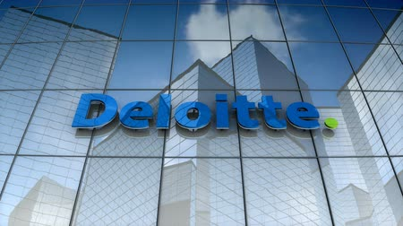belasting : September 2017, Editorial use only, 3D animation, Deloitte Touche Tohmatsu Limited logo on glass building.