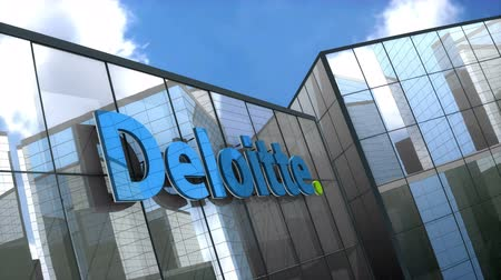 belasting : June 2018, Editorial use only, 3D animation, Deloitte Touche Tohmatsu Limited logo on glass building.