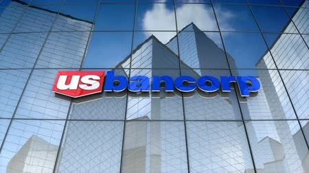 December 2017, Editorial use only, 3D animation, U.S. Bancorp logo on glass building.