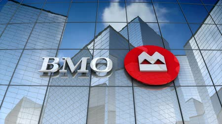 December 2017, Editorial use only, 3D animation, Bank of Montreal logo on glass building.