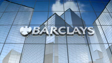 December 2017, Editorial use only, 3D animation, Barclays PLC logo on glass building.
