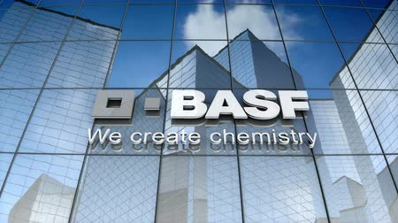 December 2017, Editorial use only, 3D animation, BASF SE logo on glass building. Vídeos