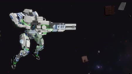 destroyer : 3D CG, battle robot shooting laser gun