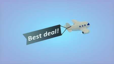 transmitir : Computer generated, Airplane on blue background with text on flag, Best deal.