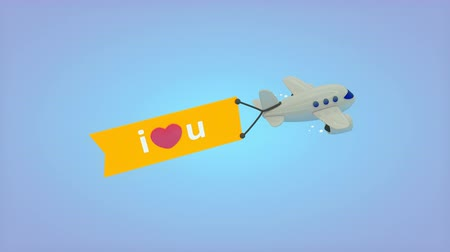 i love you : Computer generated, Flying plane with flag, I love you.