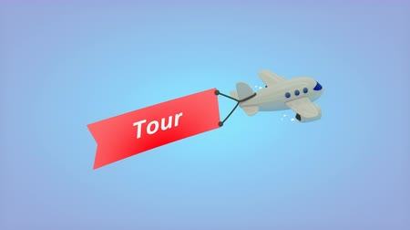 iletmek : Computer generated, Airplane on blue background with text on flag, Tour. Stok Video