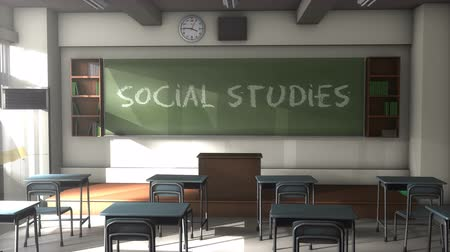 high school : 3D CG, Empty Social studies school classroom Stock Footage