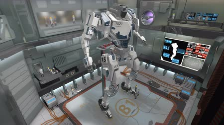 dev : 3D CG, Spaceship hangar with giant battle robot.