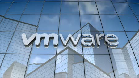 September 2017, Editorial use only, 3D animation, Vmware Inc. logo on glass building. Vídeos