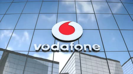 Editorial use only, 3D animation, Vodafone logo on glass building.
