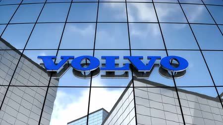 July 2017, Editorial use only, 3D animation, Volvo logo on glass building.