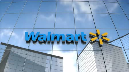 walmart : Editorial use only, 3D animation, Walmart logo on glass building.