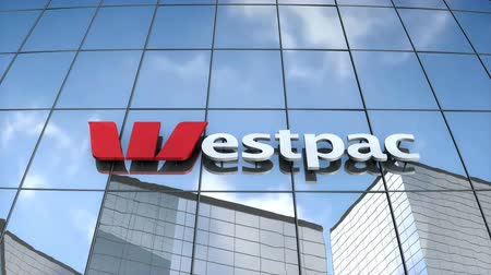 только : Editorial use only, 3D animation, Westpac logo on glass building.