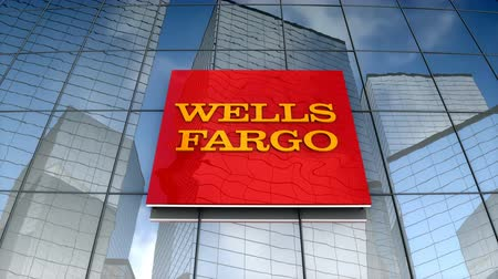August 2017, Editorial use only, 3D animation, Wells Fargo logo on glass building. Vídeos