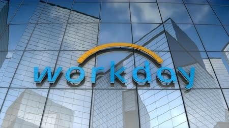 September 2017, Editorial use only, 3D animation, Workday Inc. logo on glass building.