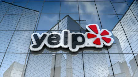 August 2017, Editorial use only, 3D animation, Yelp logo on glass building.