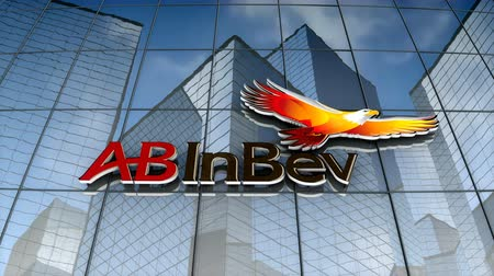 только : September 2017, Editorial use only, 3D animation, Anheuser-Busch InBev logo on glass building.