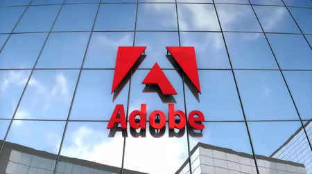 abbonamento : Editorial use only, 3D animation, Adobe logo on glass building. Filmati Stock