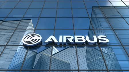 аэробус : Editorial use only, 3D animation, Airbus logo on glass building.
