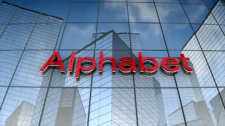abeceda : August 2017, Editorial use only, 3D animation, Alphabet Inc.logo on glass building. Dostupné videozáznamy