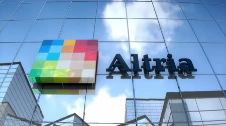 Editorial use only, 3D animation, Altria logo on glass building. Vídeos