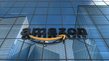 Editorial use only, 3D animation, Amazon logo on glass building.