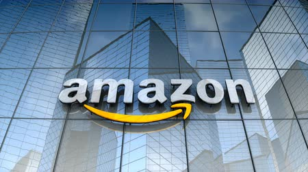 August 2017, Editorial use only, 3D animation, Amazon logo on glass building. Vídeos